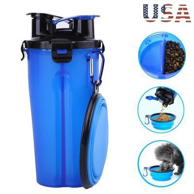 2 IN 1 Pet Dog Cat Travel Water Food Dispenser Bowl Bottle Feeder Portable
