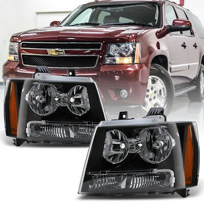 Black 2007 2014 Chevy Tahoe Suburban Avalanche Headlights Lights 07 14 Headlamps