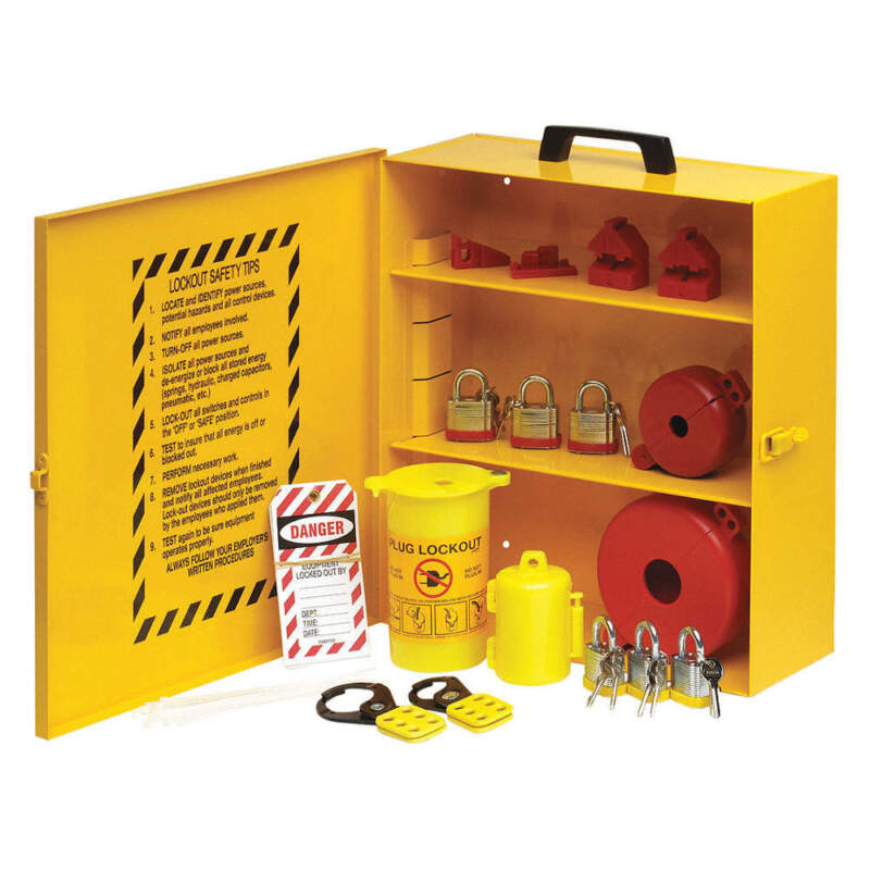 "CONDOR 437R81 Lockout Station,Black/Yellow,16"" H"
