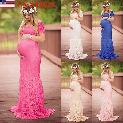US Women Lace Maternity Dress Maxi Fancy Long Gown Pregnancy Photography Props