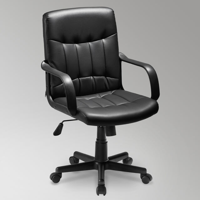 Small Leather Task Office Chair Computer Desk Swivel Executive Adjule Black