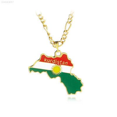 A63D Halsband Anhänger Halskette Gold Kurdistan Karte Männer Frauen Für Kette (Gold Anhänger-kette Für Männer)