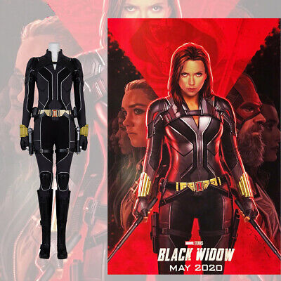 Black Widow Cosplay Costume (Black Widow 2020 Cosplay Jumpsuit Belt Holster Props Costume Full Set Props)