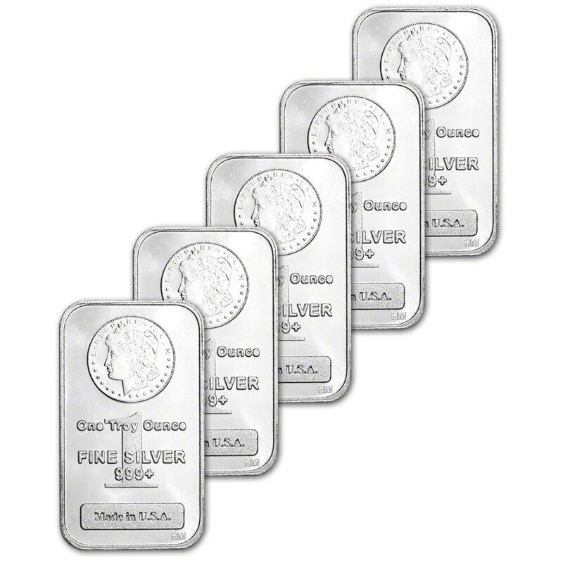 FIVE (5) 1 oz. Highland Mint Silver Bar - Morgan Dollar Design .999+ Fine