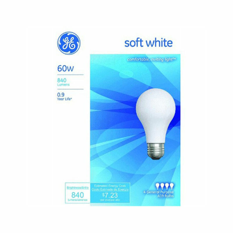New GE Bulb, Soft White 60 Watts, 4 bulbs per Pack