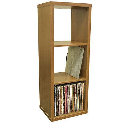 CUBE - 3 Cubby Square Display Shelves / Vinyl LP Storage - Oak 4123OC