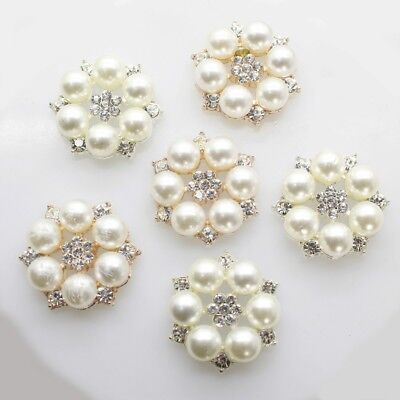 Button Shape Pearl - 10* Pearl Rhinestones Buttons Bridal Dress Floral Shape Button Robe Ornament  US
