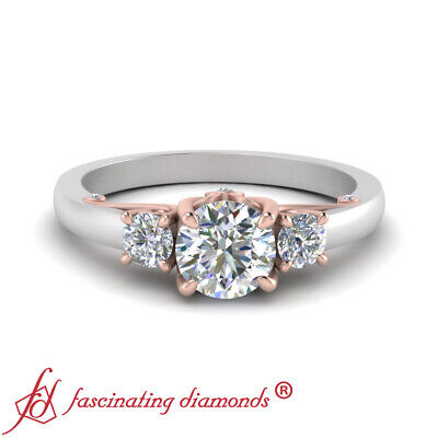 2 Tone 3/4 Carat Round Diamond Rose Gold Engagement Ring With Underneath Scroll 1