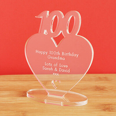 100th Birthday Personalised Milestone Heart Keepsake Gift Idea for HIM OR HER!