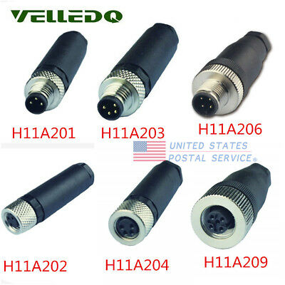 M8 M12 Male Female 3 Pin 4pin Field-wireable Sensor Connector Adapter Threaded