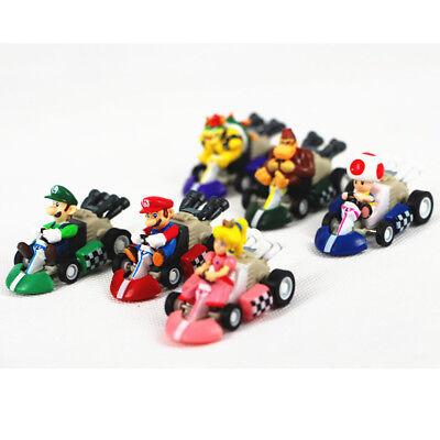 Super Mario Luigi Bros Princess Toad Racing Kart Pull Back Cars 6 PCS Figure Toy (Super Mario Toad)