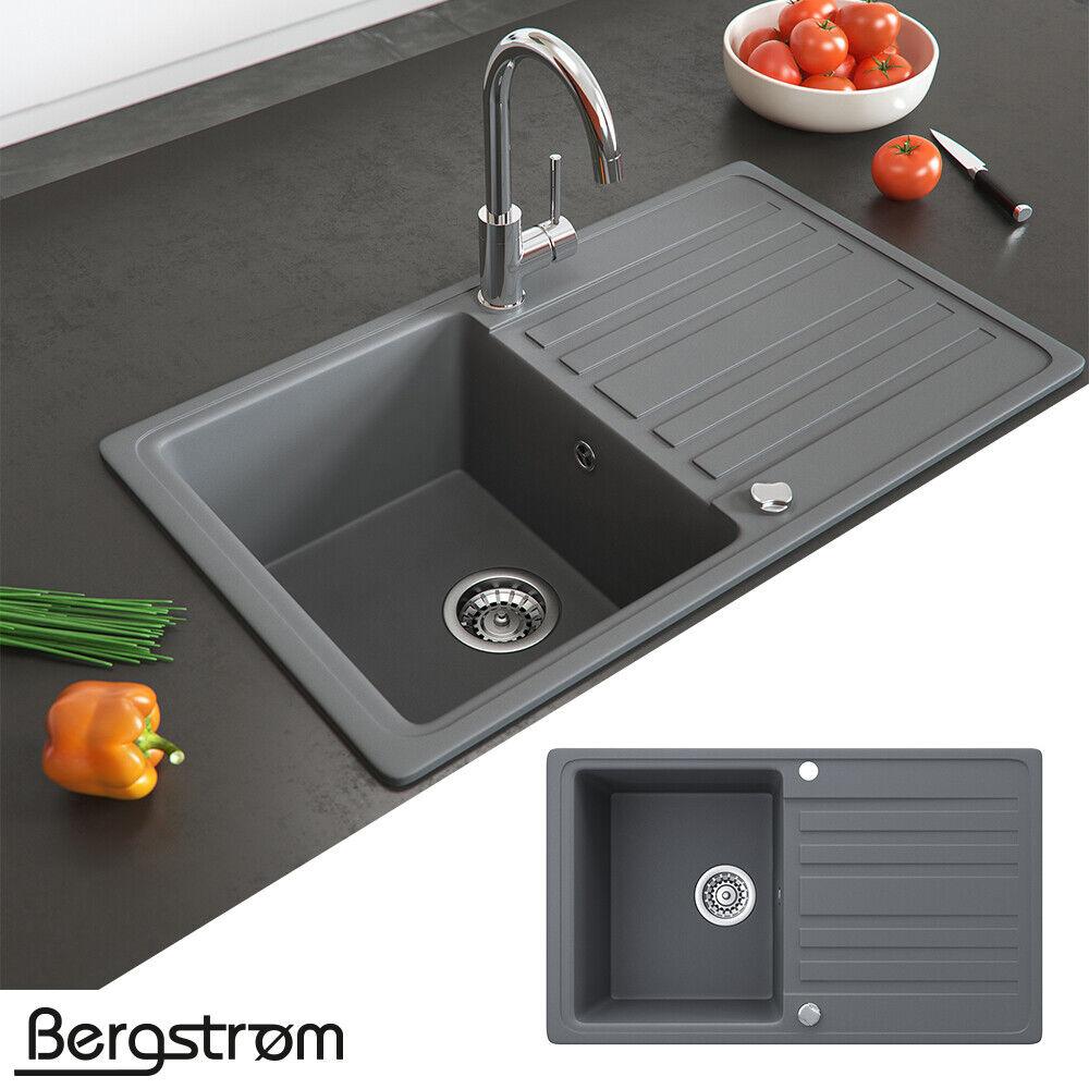 Bergström Granit Spüle Küchenspüle Einbauspüle Spülbecken 765x460mm Farbasuwahl Grau