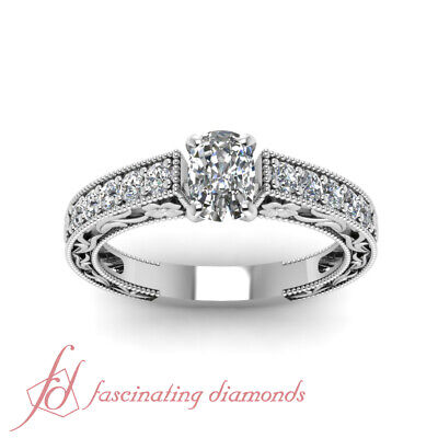 Archaic Style Channel Set Engagement Ring 1.2 Ct Cushion Cut Diamond H-Color GIA 1
