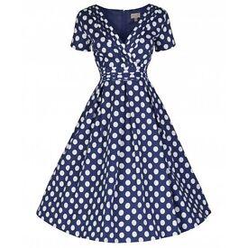 Blue Polka Dot Party Dress (Size 14)