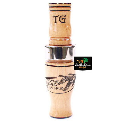TIM GROUNDS REAL THANG SHORT REED GOOSE CALL BIRDS EYE MAPLE WOOD