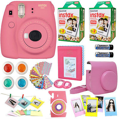 Fujifilm Instax Mini 9 Ready-made Camera Flamingo Pink +40 Film All in 1 Acc Sheaf