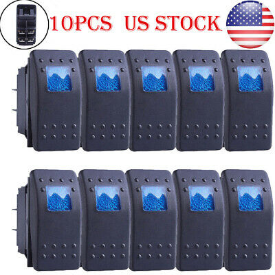 12v Custom Diy Rocker Switch Blue Led 4 Pin Onoff Spst Marine Grade Us Stock