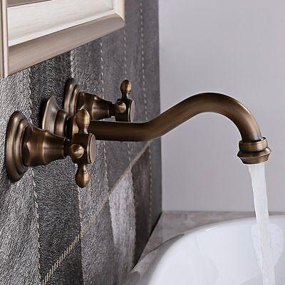Classic Antique Brass Wall (Widespread Sink Faucet Classic Antique Brass Wall Mount Bathroom Basin Mixer)