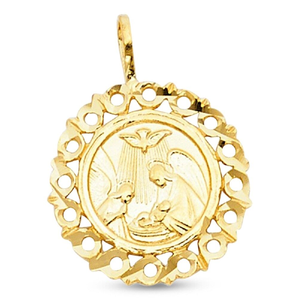 Holy Baptism Medallion Charm Solid 14k Yellow Gold Round ...