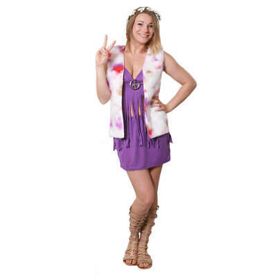WOMANS HIPPIE HIPPY CHIC 1960'S 1970'S GROOVY CHIC FANCY DRESS COSTUME - Hippie Chic Kostüm