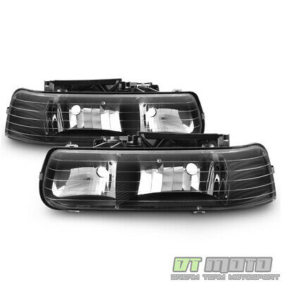 Black 1999-2002 Chevy Silverado 00-06 Suburban Headlights Headlamps Left+Right