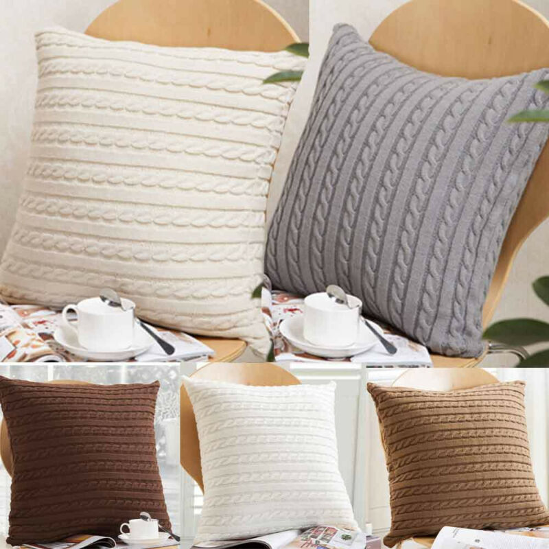 Knitting Throw Pillow Cases Cafe Zipper Zip Up Sofa Cushion