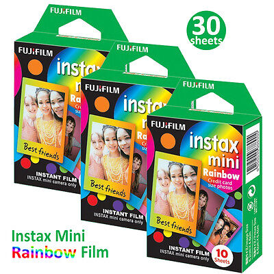 30 Rainbow Fujifilm Instax Mini Instant Films Photos For Fuji 7s 8 70 90 Camera