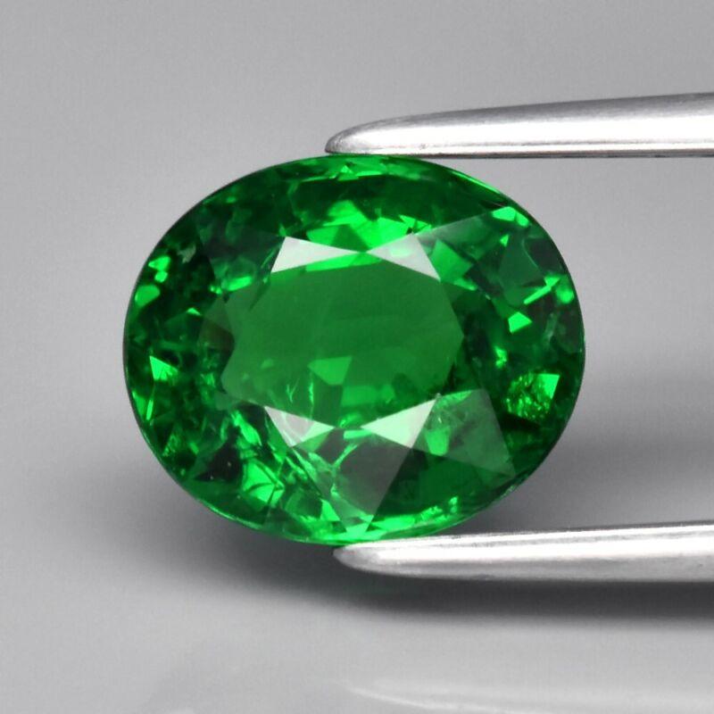 Amazing! 1.81ct 8x6.7mm Oval Natural Shocking Green Tsavorite Garnet, Tanzania