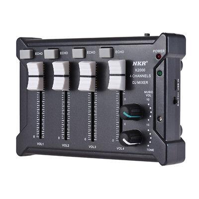 Professional Mini Pocket 4-Channel mono Stereo Audio DJ Sound Mixer USB X6E5 Mono Mini Mixer