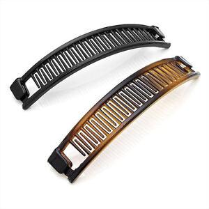 2 Piece 13cm Banana Hair Clip Grip Slide Accessory Set - Black & Brown 28607