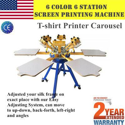 6 Color 6 Station Silk Screen Printing Machine T-shirt Printing Press Carousel