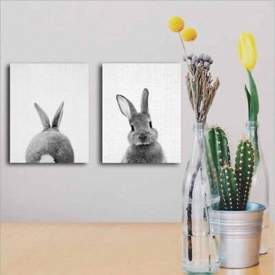 Home Decor Wall Painting Gray Rabbit Oil Painting Wall Hanging Canvas No-Frame G