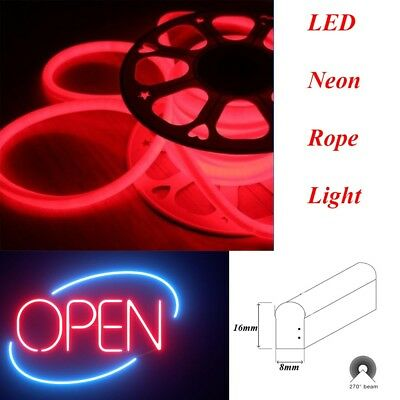 50FT Red Submissive LED Neon Rope Light Outdoor Holiday Party Home Decoration 8MM