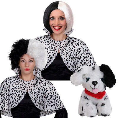 EVIL DOG LADY WIG CAPE AND DOG SET FILM BOOK CHARACTER FANCY DRESS HALLOWEEN