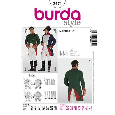 Burda 2471 SEWING PATTERN Military Uniform Napoleon Waistcoat Men Costume OOP