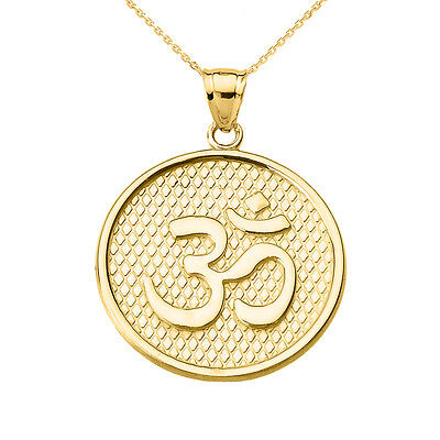 Yellow Gold Om Ohm Round Disc Pendant Necklace Yoga And Meditation