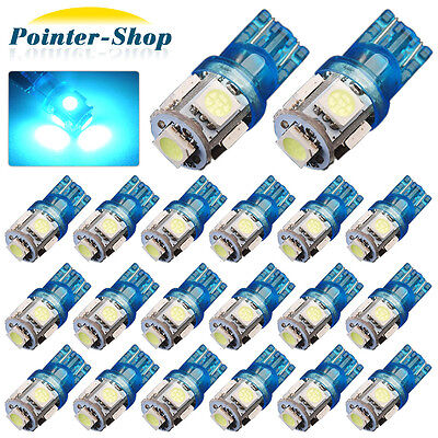 20 X Ice Blue T10 194 5 Smd Led License Tag Map Dome Interior Lights Bulbs W5w
