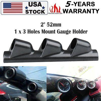 Black 52mm Auto A Pillar Pod 3 Triple Gauge Holder Mount Pod Bendable Universal