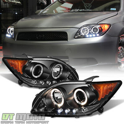 Black 2005 2006 2007 Scion tC LED Halo Projector Headlights Headlamps Left+Right