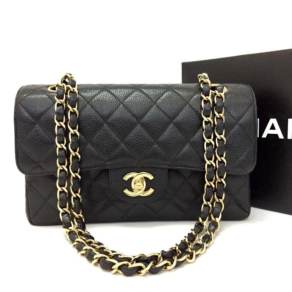 CHANEL Double Flap 23 Quilted CC Logo Caviar Skin w/Chain Shoulder Bag / 2pFCC