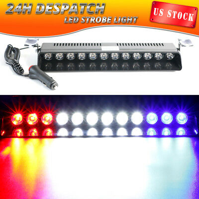12 LED Emergency Warning Strobe Light Bar Windshield Dash RED WHITE BLUE 12V