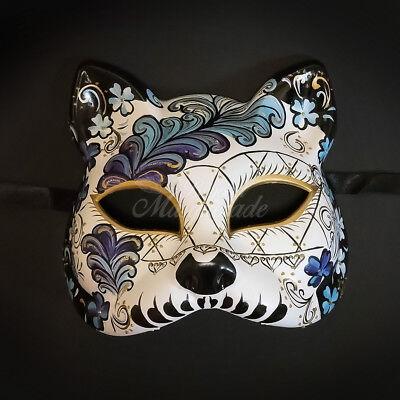 Gatto Cat Venetian Halloween Costume Masquerade Mask White/Blue - Costume Gatto Halloween