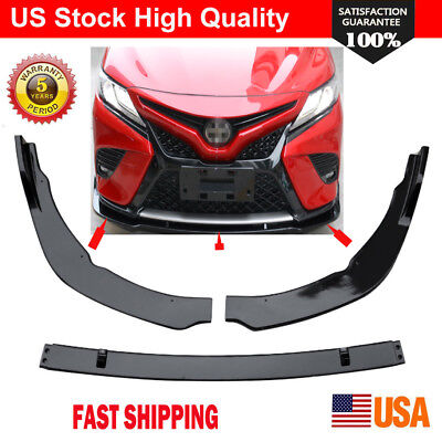 Gloss Black  Car Front Bumper Lip Cover Trim For Toyota Camry 2018 SE/XSE 3Pcs