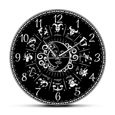 Zodiac Astrology Star Sign Modern Wall Clock Horoscope Silent Sweep Watch