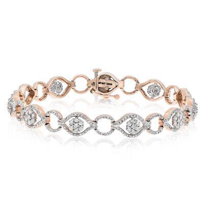 Eye Link Diamond Bracelet - 14K ROSE GOLD PAVE EVIL EYE HAMSA DIAMOND FLOWER CLUSTER LINK TENNIS BRACELET