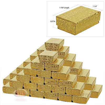 50 Gold Foil Cotton Filled Jewelry Gift Boxes 1 78 X 1 14 X 58 Ring Charms