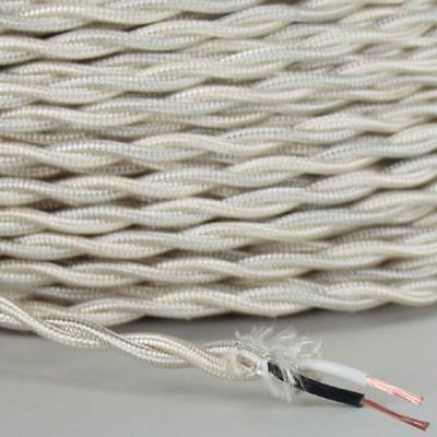 IVORY ~ Antique Look TWISTED Cloth Covered Fabric Lamp Wire