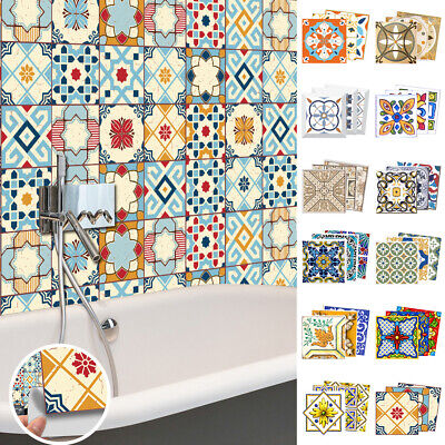 Home Decoration - AU Self Adhesive Floral Tile Stickers Kitchen Bathroom Home Wall Decor 20 Pcs