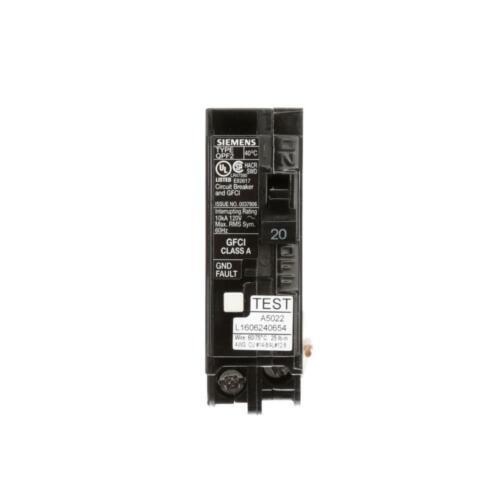 Siemens 20 Amp Single Pole Type QPF2 GFCI Circuit Breaker