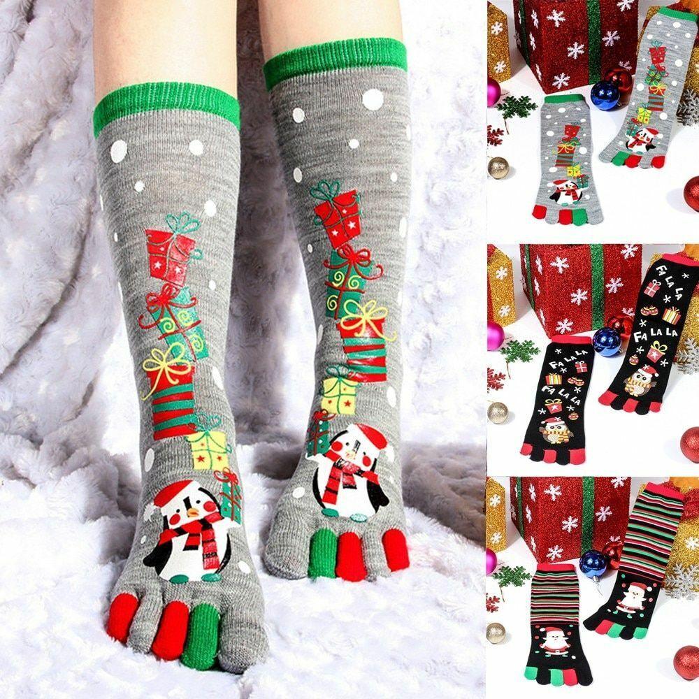 Five Finger Socks Ladies Cute Christmas Style Winter Soft Fo